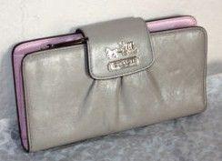 Coach Madison Grey Leather Slim Envelope Wallet