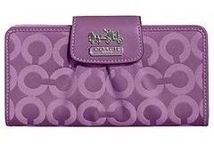 Coach Madison OP Art Long Wallet Purple