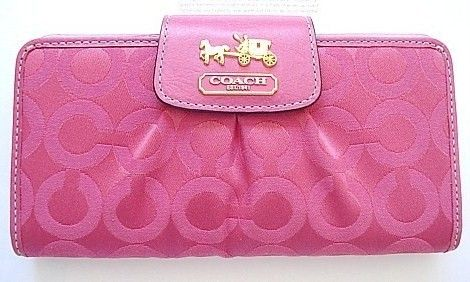 Coach Madison OP Art Slim Wallet Pink-Fushcia