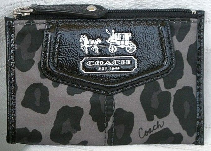 Coach Madison Ocelot Mini Skinny Coin Purse Wallet