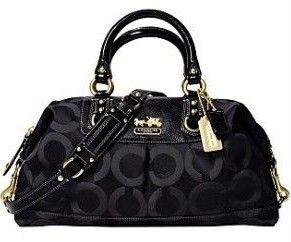 COACH Madison Sabrina Graphic OP Art Purse Black