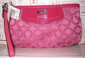 Coach Madison OP Art Large Pink Wristlet