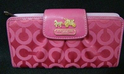 Coach Signature Madison OP Art Slim Envelope Wallet Pink 41985
