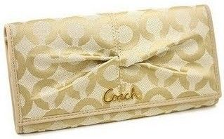 Coach Parker OP Art Checkbook Wallet Sand Color