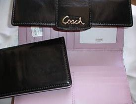 Coach Penelope Black Leather Checkbook Wallet 42221