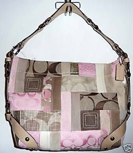 COACH Pink Signature Patchwork Carly