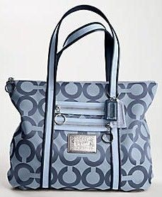 Coach Poppy Navy Blue Silver Glam Tote