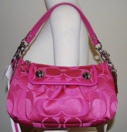 Coach Poppy Sateen Signature Groovy Fuchsia Bag 13833