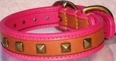 Coach Pyramid Pink Studded Leather Dog Collar XS