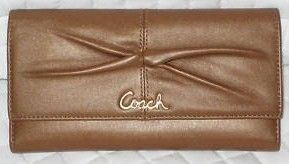 Coach Parker Leather Checkbook Wallet Cinnamon