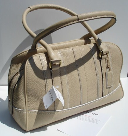 COACH Pebble Leather Satchel Sand