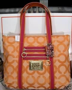 Coach Persimmon Poppy OP Art Glam Tote