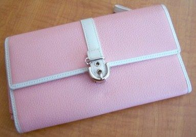 COACH Pink Leather Checkbook Wallet with Buckle