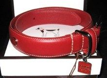 Coach Large Red Leather Dog Collar w Charm
