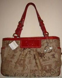 Coach Sig Horse Carriage Gallery Tote Purse 14443