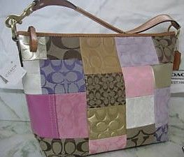Coach Signature Stripe Patchwork Large Shoulder Bag 11709