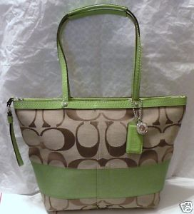 Coach Signature Stripe Tote Purse Green-Khaki 13548