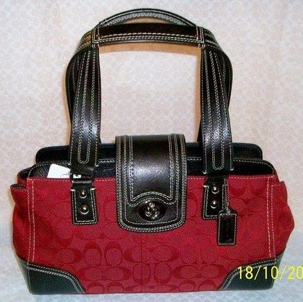 Coach Signature Red Mahogany Carryall Handbag