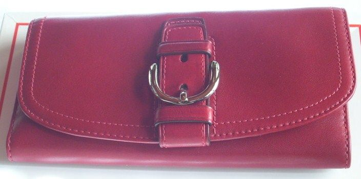 Coach Soho Leather ChkBook Wallet Red with Buckle