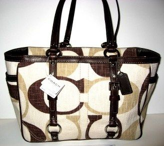 COACH Tonal Chocolate Gallery Tote Purse 13810
