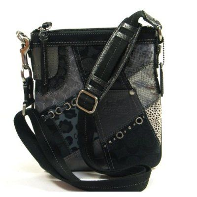 Coach Tonal Black Patchwork Swingpack Purse 42070