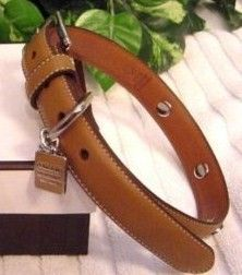 Coach Trendy Fashion XS Leather Charm Dog Collar Light Brown