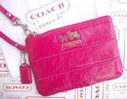 Coach Tri Patent Leather Pink Wristlet 43097