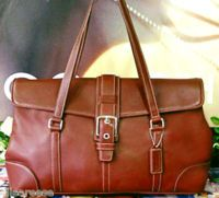 Coach Whiskey Burnished Leather Satchel Bag