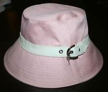 Coach Women's Bucket Hat in Pink w White Leather Trim