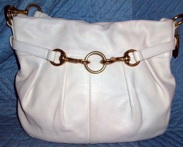 Coach White Leather Pleated Hobo
