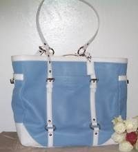 Coach XL Large Leather Tote Bag Blue White