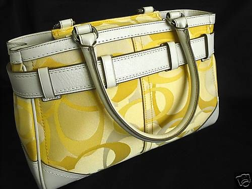 Coach yellow hamptons optic signature carryall back