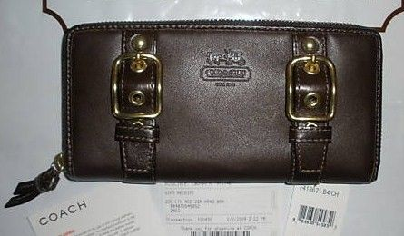 Coach Zoe Leather Accordion Zip Around Wallet 41862