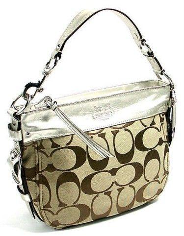 Coach 12657 Silver-Khaki Signature Zoe Handbag