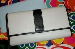 Coach Hamptons White Leather Checkbook Wallet