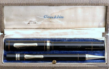 Conklin Endura Fountain Pen/Pencil Boxed Set Standard Size Black