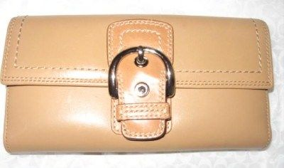 Coach Soho Checkbook Wallet Camel Leather