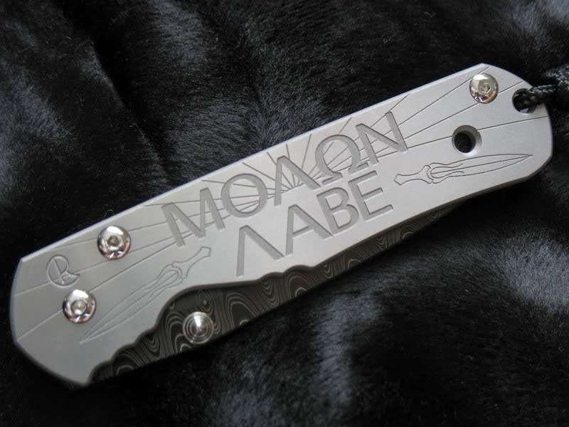 Chris Reeve Sebenza Molon Labe Custom Knife Closed View