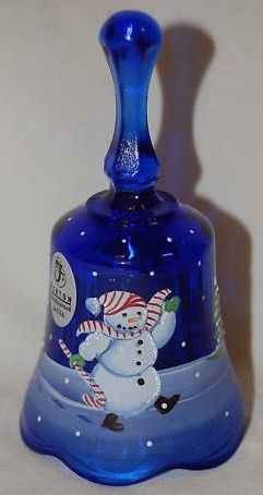 Fenton Blue Christmas Dinner Bell Hand Painted Snowman