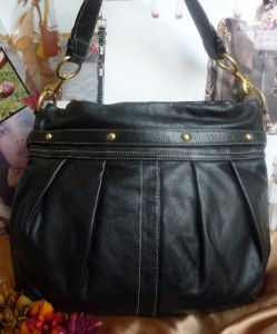 Coach 10205 Pleated Calfskin Leather Large Hobo Black