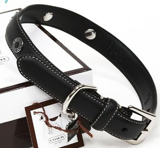 Coach black leather dog collar style 8848