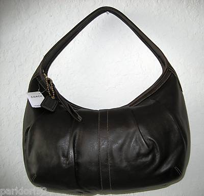 Coach Black Leather Ergo Pleated Hobo 12236