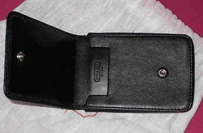 Coach Black Leather ID Card Holder Open