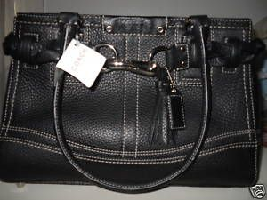 Coach Black Pebble Leather Carryall Bag