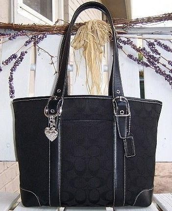 Coach Black Signature LG Market Shoulder Tote