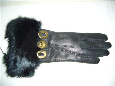 Coach Black Leather Turnlock Gloves with Mink