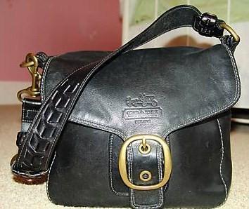 Coach Bleecker Leather Flap Handbag Black