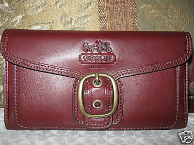 Coach Bleecker Leather Checkbook Wallet Burgandy Style 408