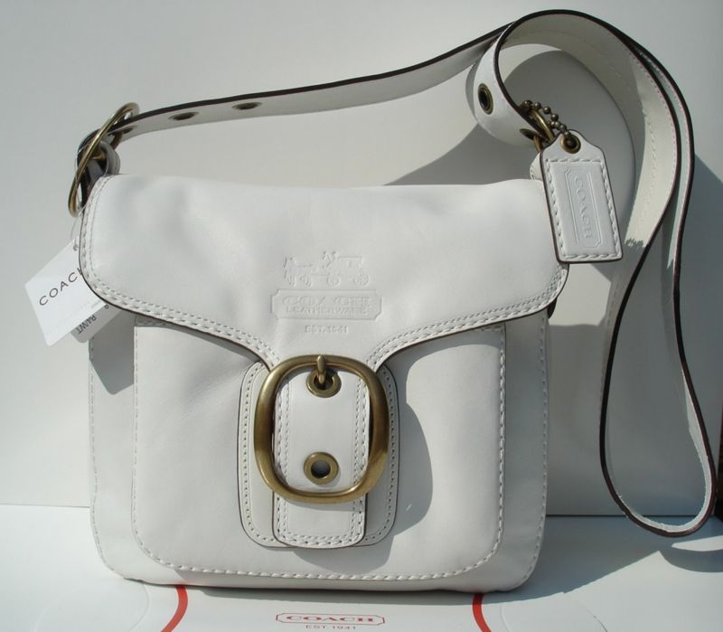Coach Bleeker Leather Flap White 11418