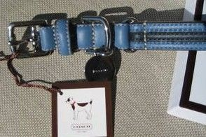 Coach Blue LOeather Dog Collar w/Black Stripe Medium